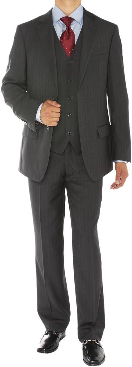 DTI GV Executive Men's Italian Vested Wool Suit Two Button 3 Piece Jacket Vest