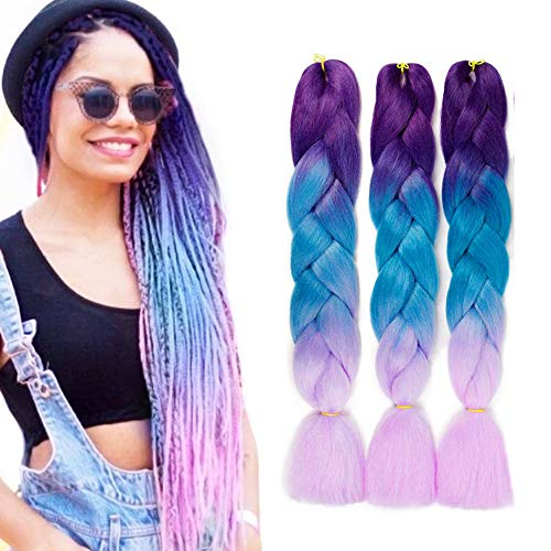 """Braiding Hair Synthetic Hair Extensions Ombre Twist Braids Hair Hair Extensions 3Pcs/Lot(24"""" Purple-Lake Blue-Violet)"""