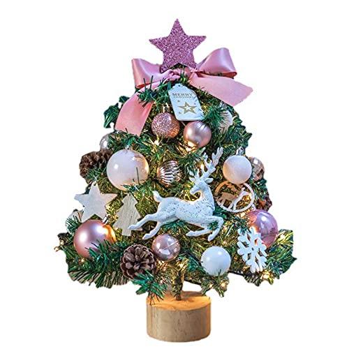 GYLTFL Árbol de Navidad Artificial 45 cm Christmas Tabletop Árbol de Navidad con Base de Madera y Adornos Colgantes, Decor de Mesa y Escritorio de Navidad