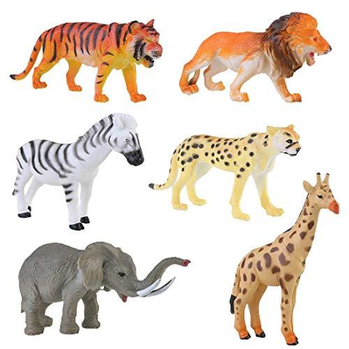Afufu 6 Pezzi Fattoria Animali Giocattolo, Figure Animale in Plastica, Foresta Giungla Animali Selvatici Tiger Leopard Leone Giraffa Zebra Elephant Giocattolo Riempire Borse Regalo per Ragazzi bambini