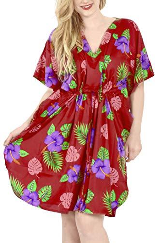 LA LEELA Dames Kaftan Tuniek Gedrukt Kimono vrije maat kort Midi Party jurk voor Loungewear vakantie nachtkleding strand elke dag jurken AH