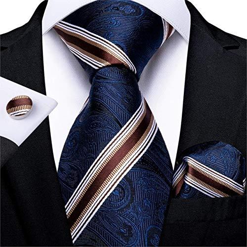 DJLHNCravatta da Uomo di qualità Cravatta da Sposa in Seta a Righe Blu Vino Rosso per Uomo Set di Cravatte Regalo di Gemelli Hanky DiBanGu Fashion Design Business - MJ-7321