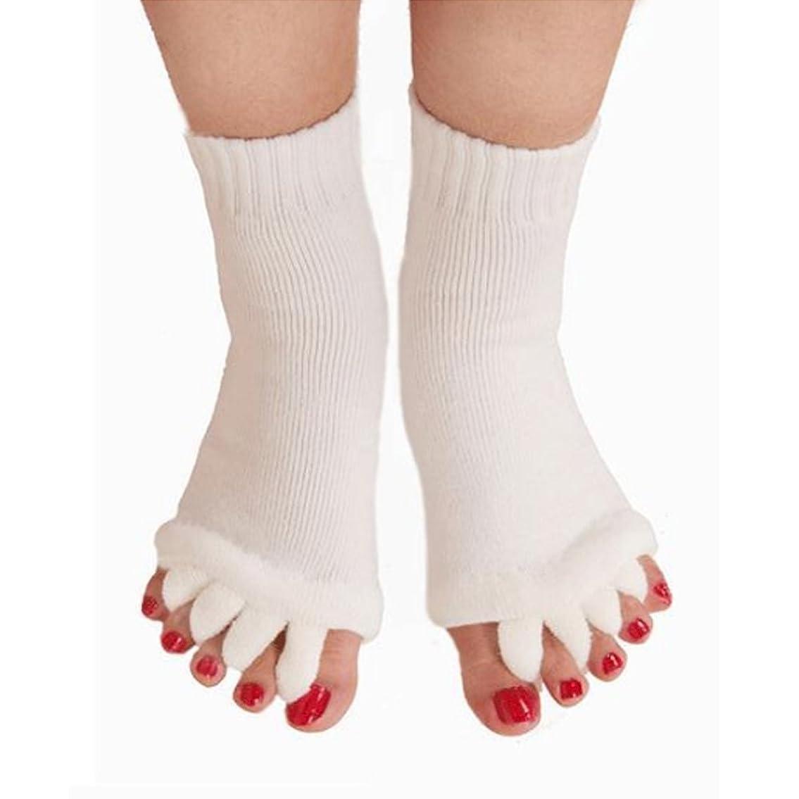 原子晴れ摂氏5本指 ソックス 靴下 足指全開 スリーピングソックス 足指ケア 痛みを軽減する 外反母趾 偏平足対策 ヨガウェア 美脚 就寝時用 快眠 むくみ解消 ホワイト 1ペア