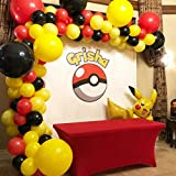 Mickey Mouse Party Supplies, Red and Yellower Balloon Garland Arch Kit for Pokemon and Race Car Theme Birthday Party Decorations, Photography Backdrop, Birthday Party Decorations for Boy