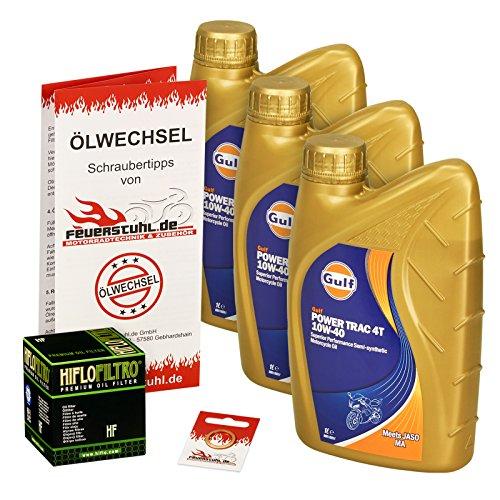 Gulf 10W-40 Öl + HiFlo Ölfilter für Yamaha XJ 600 N/S Diversion, 92-03, 4BR 4LX RJ01 - Ölwechselset inkl. Motoröl, Filter, Dichtring