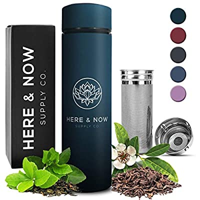 Multi-Purpose Travel Mug and Tumbler   Tea Infuser Water Bottle   Fruit Infused Flask   Hot & Cold Double Wall Stainless Steel Thermos   EXTRA LONG INFUSER   by Here & Now Supply Co. (Midnight Teal) from