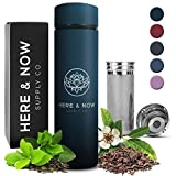 Multi-Purpose Travel Mug and Tumbler | Tea Infuser Water Bottle | Fruit Infused Flask | Hot & Cold Double Wall Stainless Steel Thermos | EXTRA LONG INFUSER | by Here & Now Supply Co. (Midnight Teal)