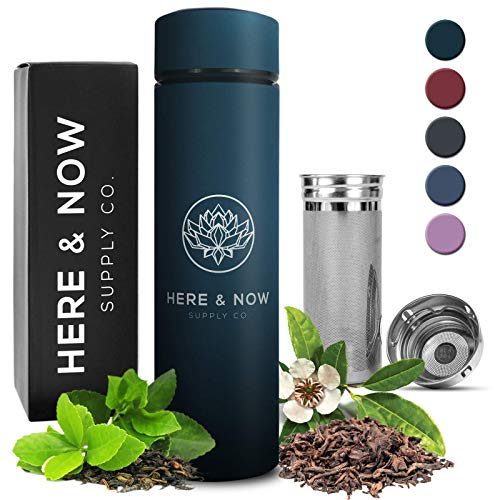 Multi-Purpose Travel Mug and Tumbler   Tea Infuser Water Bottle   Fruit Infused Flask   Hot & Cold Double Wall Stainless Steel Thermos   EXTRA LONG INFUSER   by Here & Now Supply Co. (Midnight Teal)