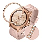 TRUMiRR Bague Lunette Compatible avec Samsung Galaxy Watch 42mm, Femmes Or Rose Acier Inoxydable & Strass Diamant Couverture...
