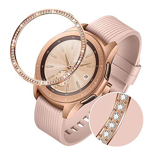 TRUMiRR Anello con castone Compatibile con Samsung Galaxy Watch 42mm, Donna Acciaio Inossidabile Oro Rosa & Diamante con Strass Copertura Adesiva AntiGraffio Custodia di Protezione in Metallo