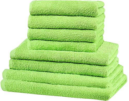 GREEN MARK Textilien 8 TLG. Handtuch-Set versch. Größen, 2X Handtücher, 2X Duschtücher, 4X Gästetücher   100% Baumwolle   solide Qualität, Farbe: Apfel grün