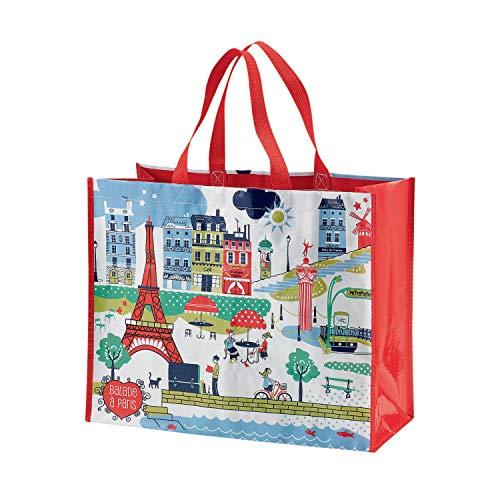 Winkler Große Einkaufstasche Spaziergang durch Paris weiß 36 x 44 x 20 cm