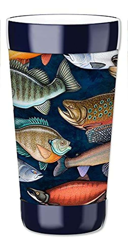 Mugzie 16 Ounce Travel Mug/Drink Cup with Removable Insulated Wetsuit Cover - Fresh Water Fish