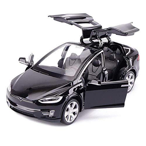 Chidi Toy Automodell Spielzeugauto Tesla Model X 90 1:32 Fahrzeug Legierung zurückziehen mit Sound & Light für Kinder Kids Toys Türen öffnen (Schwarz)