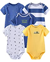 Chamie Newborn Baby Bodysuit 5 Pack Short Sleeve Onesies Baby Clothes for Boys and Girls