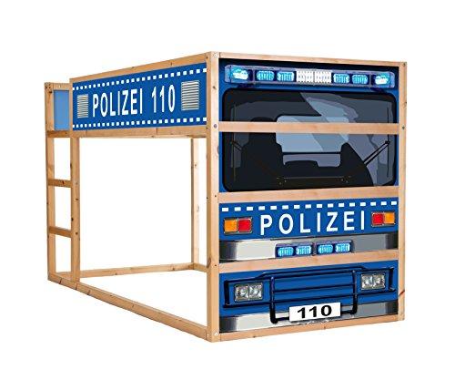 Stikkipix Polizeiauto Möbelsticker/Aufkleber - IM210 -passend für das Kinderzimmer Hochbett KURA von IKEA - Möbel Nicht Inklusive