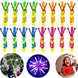 Rocket Helicopter Slingshot Outdoor LED Light-up Flying Toy for Kids and Adults-32 Psc Spin Copter for Party Favors