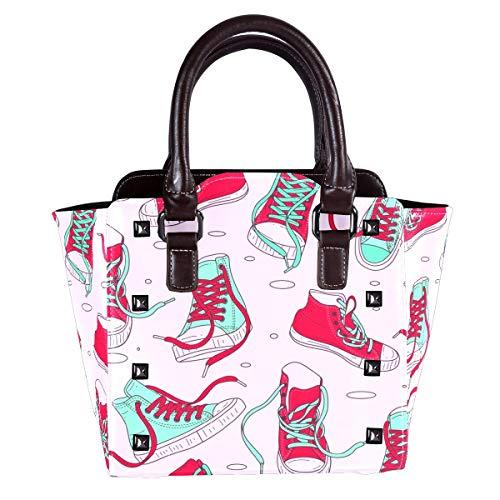 Große PU-Leder-Hobo-Handtasche für Frauen, versteckte Trage-Nieten-Schultertasche, Crossbody-Geldbörse, Canvas-Schuh thumbnail