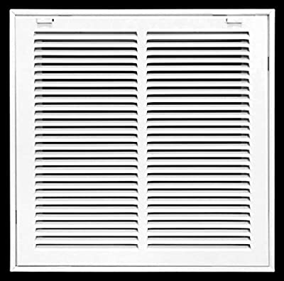 """14"""" X 14"""" Steel Return Air Filter Grille for 1"""" Filter - Removable Face/Door - HVAC Duct Cover - Flat Stamped Face -White [Outer Dimensions: 15.75w X 15.75h]"""