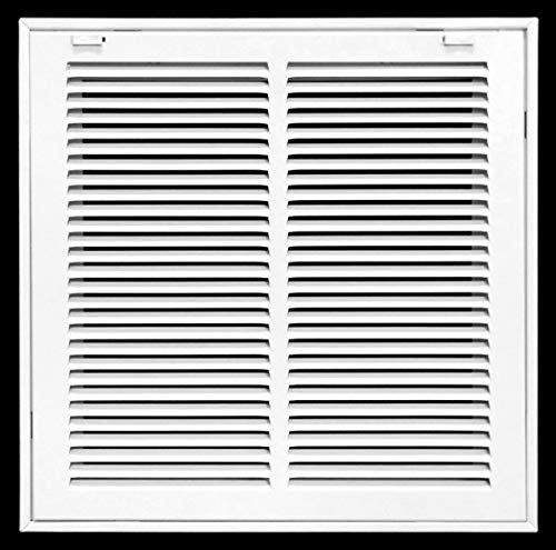 14' X 14' Steel Return Air Filter Grille for 1' Filter - Removable Face/Door - HVAC Duct Cover - Flat Stamped Face -White [Outer Dimensions: 15.75w X 15.75h]
