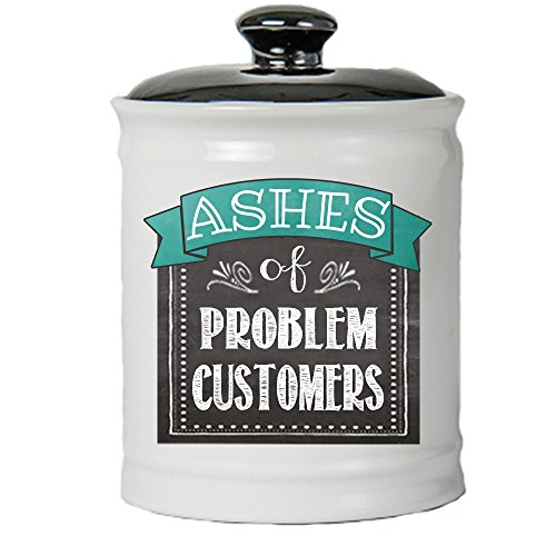 Cottage Creek Funny Gifts Round Ceramic Ashes of Problem Customers Jar/Novelty Store Decor Ashes Gifts Novelty Gifts [White]