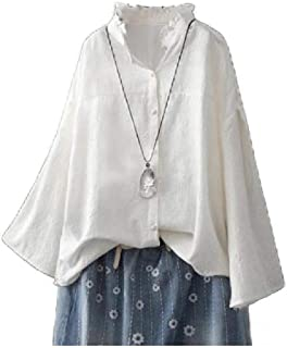 Comaba Women's Baggy Stand Collar Blouse Shirts Long Sleeve Tee Shirt