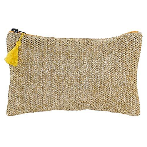 Hogar y Mas Neceser Trenzado Cierre de Cremallera y Pompon, Diseño Balinés realizado en Poliéster 25x16 cm - Amarillo