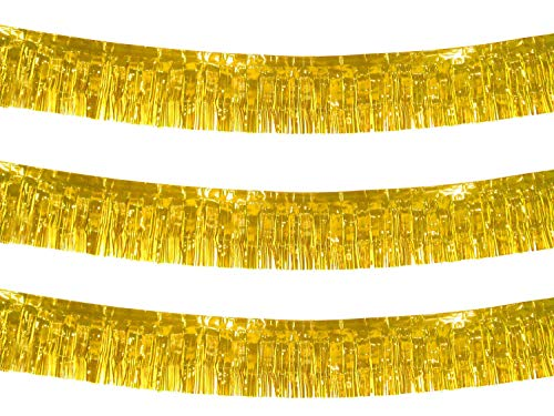 10 Feet Long Roll Foil Fringe Garland - Pack of 3 | Shiny Metallic Tassle Banner | Ideal for Parade Floats, Bridal Shower, Wedding, Birthday | Wall Hanging Fringe Garland Banner (Gold)