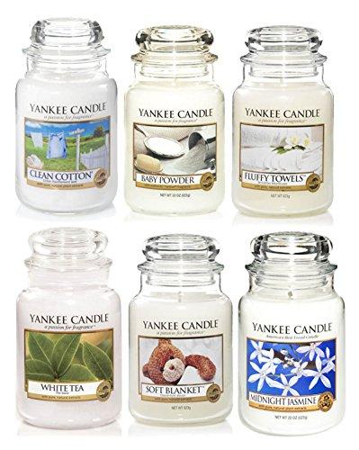 Yankee Candle Duftkerzen-Set Weiß, Geschenkbox, Set von 6 x Classic-Signature Gläsern, groß