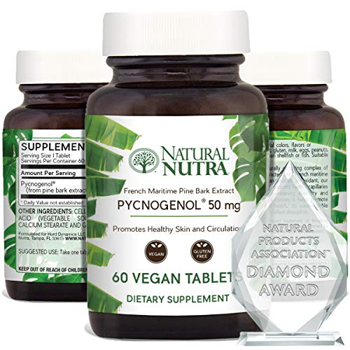 Natural Nutra Premium, Supreme French Maritime Pine Bark Extract, Antioxidant Support, Blood Circulation and Joint Supplement for Men and Women, 50 mg, 60 Vegan Tablets