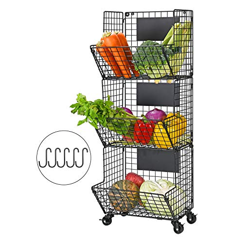 YUKOOL 3-Tier Hanging Wire Baskets with Wheel and Adjustable Chalkboards Metal Wall-Mounted Storage and Organization for Kitchen Fruit Vegetables Toiletries Bathroom