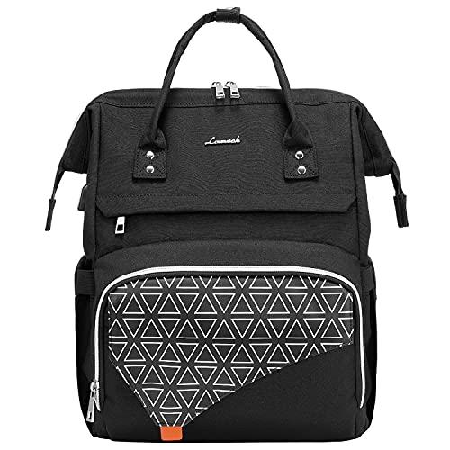 LOVEVOOK Mochila de mujer para la escuela   Elegante mochila impermeable para portátil de 15,6 pulgadas con compartimento para portátil y bolsillo antirrobo [4-negro -15.6 pulgadas]