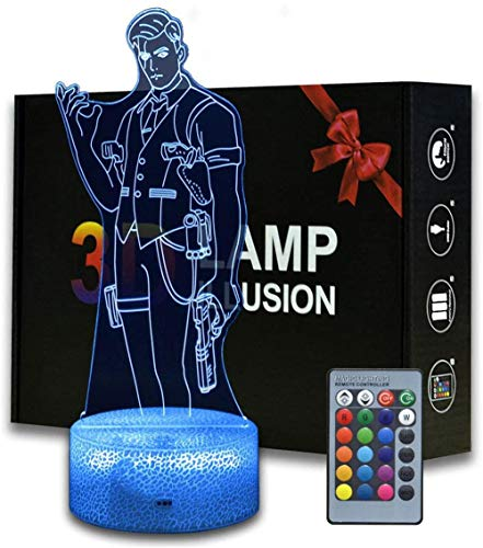 3D Optical Illusion Night Light Kids Night Light Bedroom Battle Royale Midas 16 Colors Auto Changing Touch Switch Desk Decoration Lamps Birthday Gift