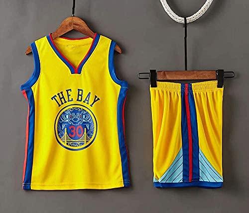 Ropa Jerseys de baloncesto para hombre, NBA Golden State Warriors # 30 Stephen Curry - Niño Adulto Classic Sport Ropa sin mangas Camiseta sin mangas, Confort Tops Uniformes Set, Amarillo, 2xl (niño) 1