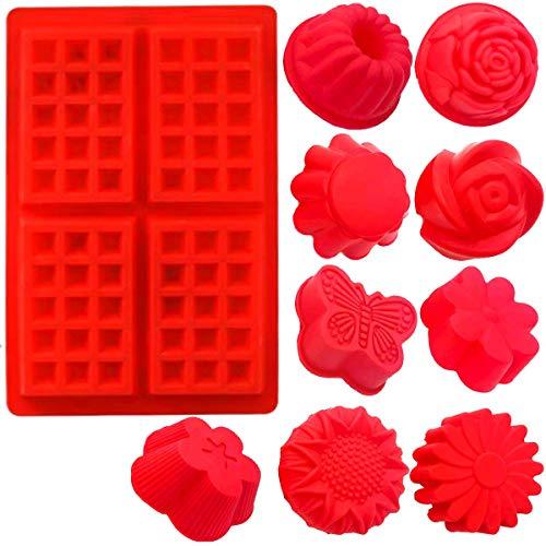 Fadaar Moldes Waffles Rectángulo, 9X Moldes de Horneado Forma de Flor + 1x Molde Gofres Silicona para Muffins pastelería Mollete Tartas Helado Pudín Galletas 9 Estilos(Rojo)