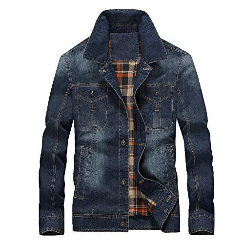 Hombres casual de la solapa de la capa masculina juvenil de mezclilla chaqueta de hombre