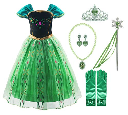 Padete Little Girls Snow Princess Party Dress up (4 Years, Green with 02Accessories)