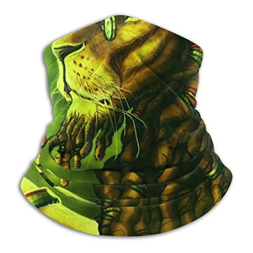 YBEAYQYXR Jamaica Rasta Lion Dreadlocks Verde Unisex Microfibra calentador de cuello protector solar resistente al viento Pasamontañas Diadema bufanda para exteriores