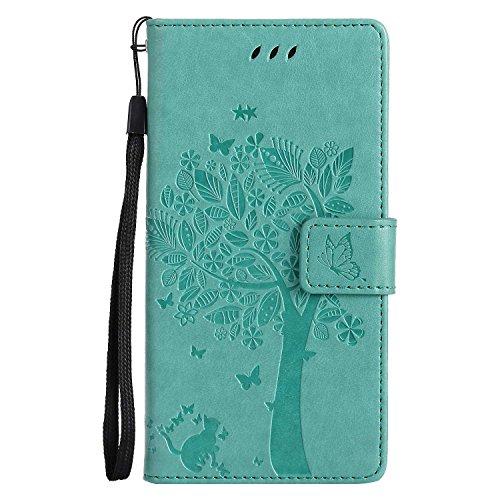 Sony Xperia Z5 Hülle,THRION PU Cat und Baum Brieftaschenetui mit magnetischer Handschlaufe und Ständerhalterung für Sony Xperia Z5, Grün