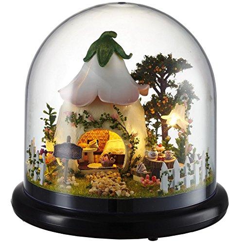 Ogrmar Wooden Dollhouse DIY Glassball Kit With Led Light-Green Garden