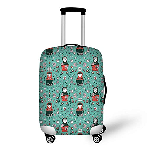 Cubierta de Equipaje de Viaje con Estampado de Matryoshka con Cremallera, Accesorios de Viaje elásticos, Protector de Cubierta de Maleta con Ruedas de 18-32 Pulgadas-3_S