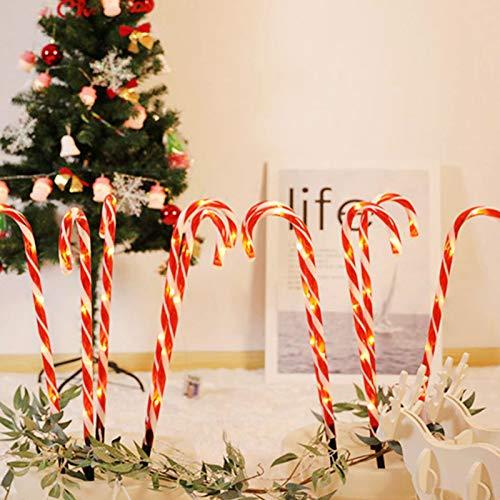 Elibeauty Luces de bastón de caramelo de Navidad, luces solares de bastón de caramelo, luces de estaca de Navidad, marcadores de camino, luces LED para decoración al aire libre (10 unidades)