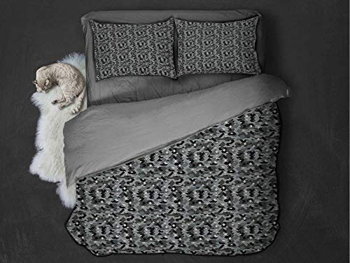 Toopeek Abstract hotel luxury bed linen Angled Geometric Shapes with Camouflage Pattern Pixel Art Inspirations polyester - soft and breathable (Full) Grey Black Pale Grey