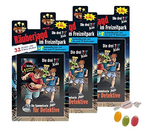 Blue Ocean Die 3 ??? DREI Fragezeichen Sticker Serie (2020) - 3 x Blister je 8 Tüten zusätzlich 1 x Fruchtmix Sticker-und-co Bonbon