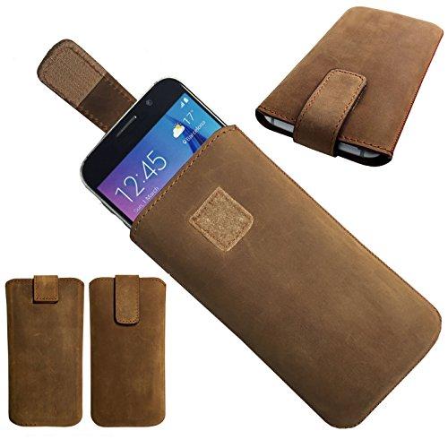 MOELECTRONIX 1A ECHT Leder BRAUN Slim Cover Hülle Schutz Hülle Etui Tasche passend für Fantec Boogy