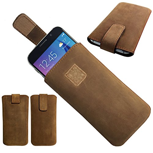 MOELECTRONIX 1A ECHT Leder BRAUN Slim Cover Case Schutz Hülle Etui Tasche passend für Blackview P2 Lite