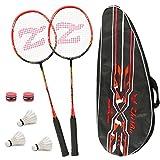 Philonext Badmintonschläger Set mit 3 Federbällen & Tragetasche & 2 Overgrip