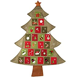 Track the days leading up to Christmas with a small gift hidden in each of the pockets of this burlap Christmas Tree Advent Calendar decor.