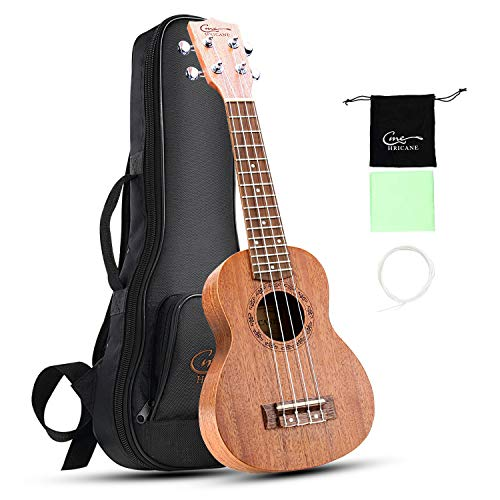 Hricane Soprano Ukulele UKM-1 21 Zoll Traditionelle Mahagoni Ukulele Hawaiische Gitarre mit Groß Tasche