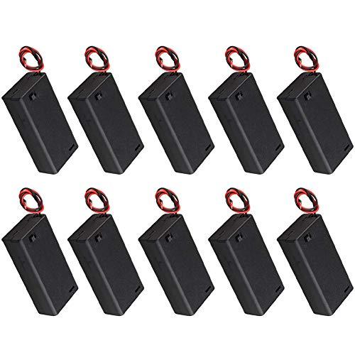 YIXISI 10 Piezas AA 3V Batería Titular Caso, Caja de Almacenamiento de Batería de Plástico con Tapa de Encendido/Apagado y Bridas de Cable de Conexión para 2 Pilas AA de 1.5 V